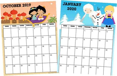 FREE Printable Princess Calendar 2019 2020