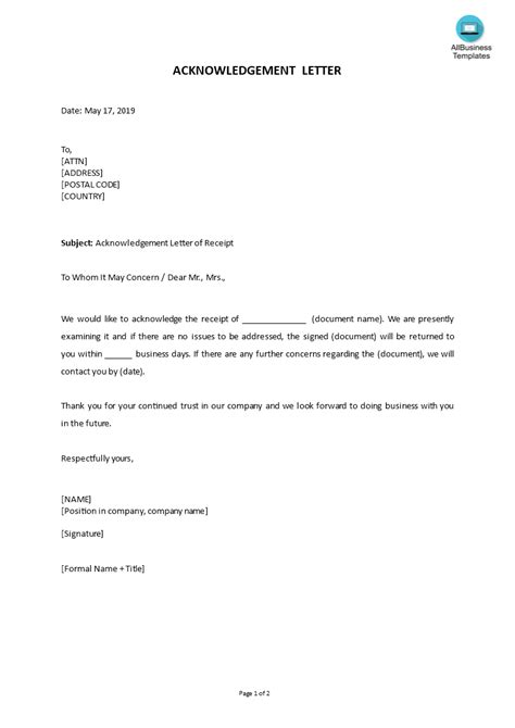 How to write an Acknowledgement Letter? An easy way to ...