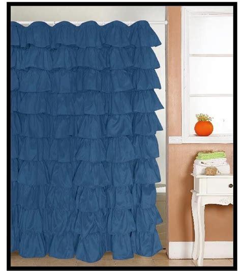 Ruffle Shower Curtain - ruffle fabric shower curtain color blue ebay