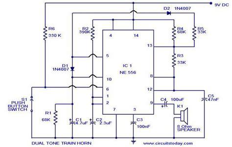 Dual Tone Train Horn Circuit Using Sound Generator