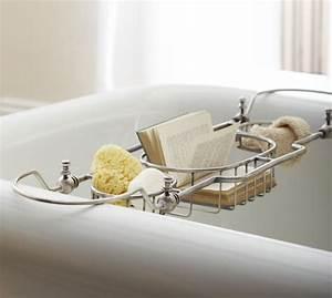 Bailey bathtub caddy pottery barn for Bathroom caddies accessories
