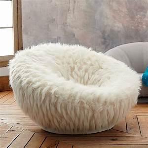 Llama Faux-Fur Groovy Swivel Chair PBteen