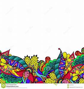 Colorful Floral Spring Doodle Border Stock Vector - Image ...