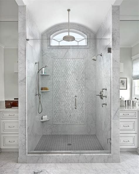gray marble shower with clerestory window and to