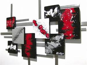 Red black and white wall art grasscloth wallpaper