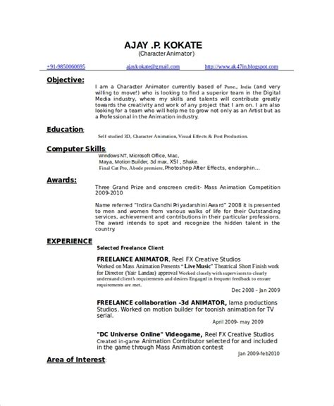 Animation Resume by Animator Resume Template 7 Free Word Pdf Documents