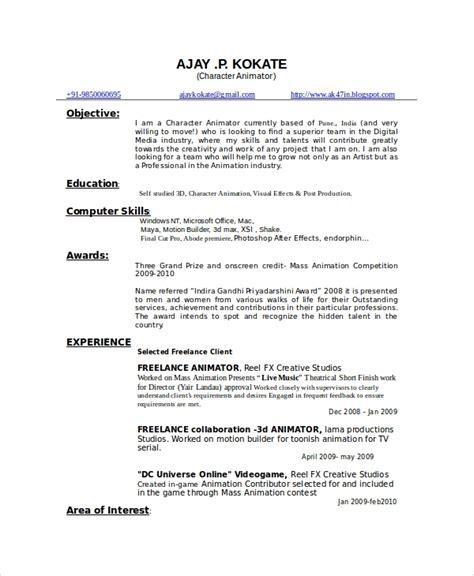 3d Animator Resume by Animator Resume Template 7 Free Word Pdf Documents