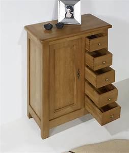 Meuble En Chene Massif : farinier 1 porte 5 tiroirs amaury en ch ne massif de style ~ Dailycaller-alerts.com Idées de Décoration