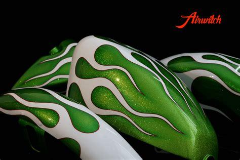 harley davidson tank sportster flammen green metalflakes