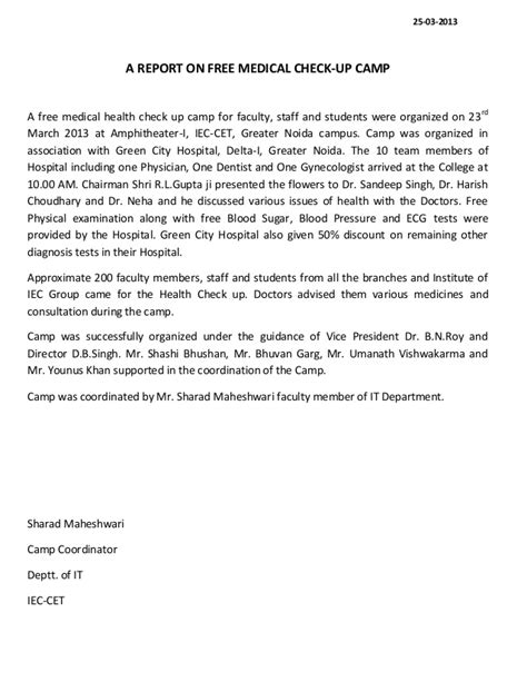 report   medical health check  camp