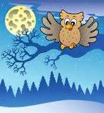 Landscape With A Flying Owl Stock Vector - Illustration ...