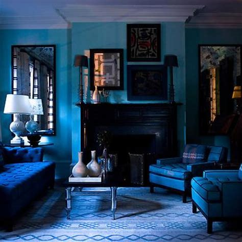 beautiful blue living room with dark blue color ideas