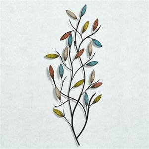 Metal wall art leaves branch : Natures harmony leaf branch metal wall art