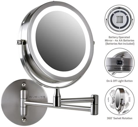 com ovente wall led lighted makeup mirror battery operated 1x 10x magnification
