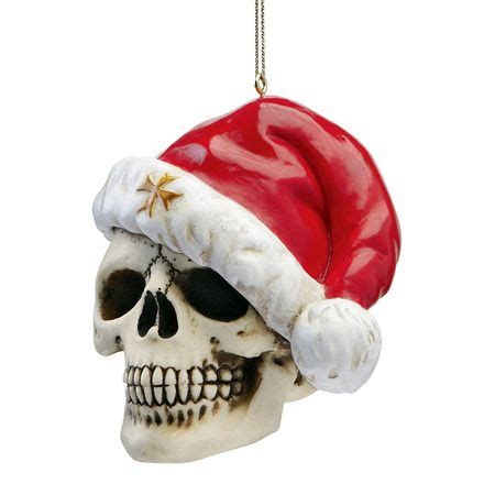 set of 3 skeleton skull tough guy santa hat holiday