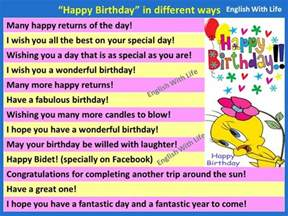 say happy birthday in different ways vocabulary home