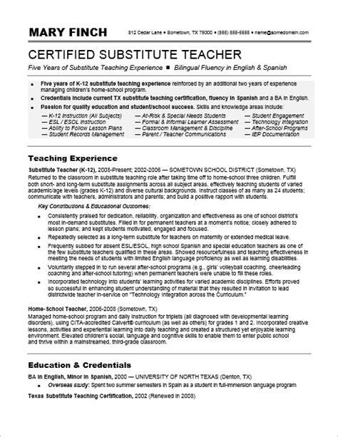 substitute resume sle
