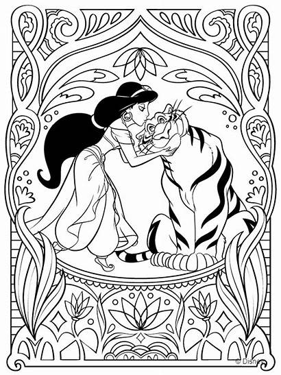 Coloring Princess Pages Jasmine Disney Printable Adults