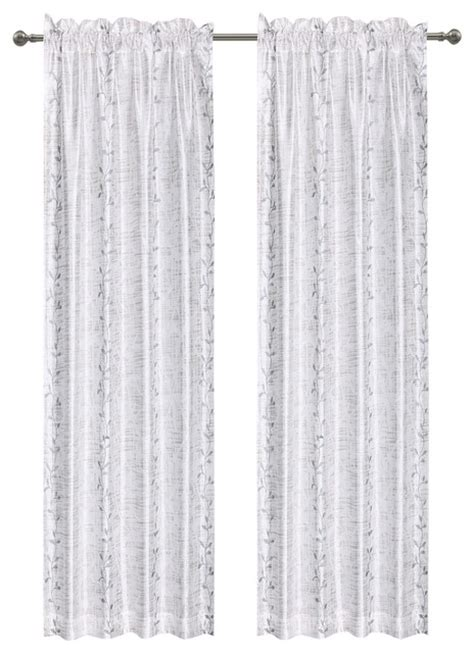 birchhill semi sheer fabric curtain 50 quot x84 quot white gray