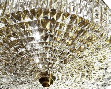 orrefors cut glass brass flush ceiling light carl fagerlund at 1stdibs