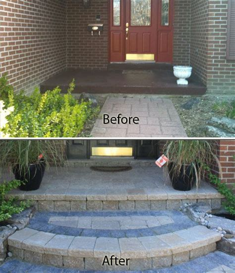 porch covering new front step and front walkway with