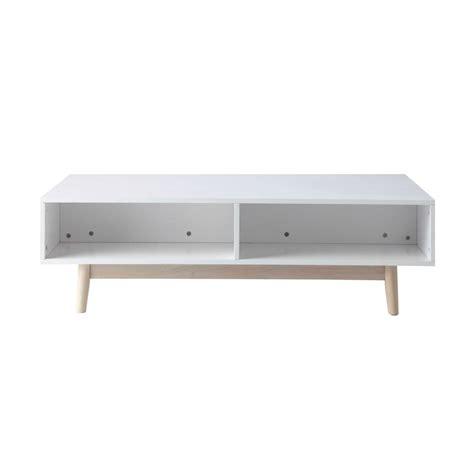 table basse avec coffre en bois blanche   cm artic maisons du monde