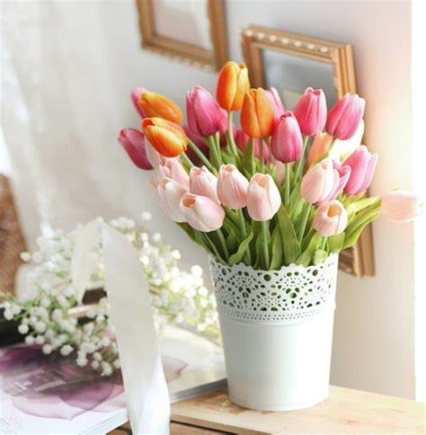 Home Decor   Floral Arrangements   Tulip Silk Flowers