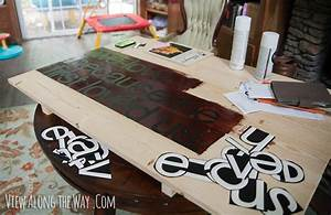 tutorial how to make diy quote art with wood and wood stain With vinyl letter stickers for wood