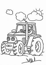 Coloring Tractor Farmer Working Pages Print sketch template