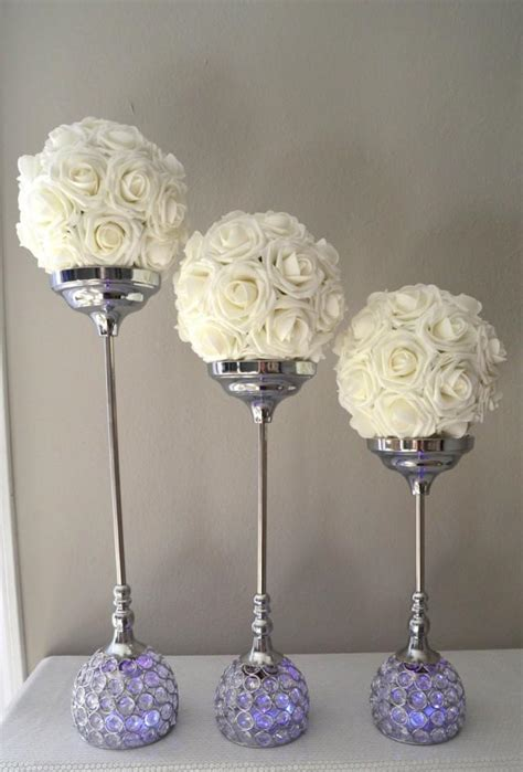 candle holder centerpiece candle holder set of 3 silver bling rhinestone