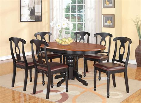 7pc Kenley Oval Kitchen Dining Set Table + 6 Leather Seat