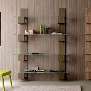 Bibliothèque Murale Design : biblioth que murale de design moderne en bois et verre stand ~ Teatrodelosmanantiales.com Idées de Décoration