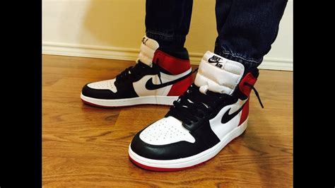 Air Jordan Retro 1 OG Black Toe unbox review showing different outfits on feet - YouTube