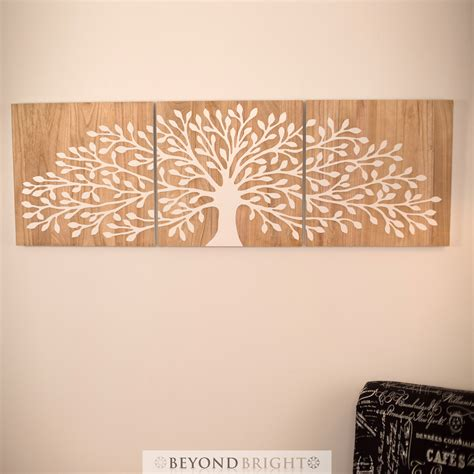 tree of life wooden timber hand carved wall art mangowood carving print triptych ebay