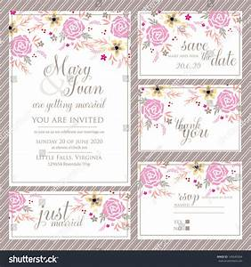 wedding invitation thank you card save stock vector With wedding invitation rsvp time frame