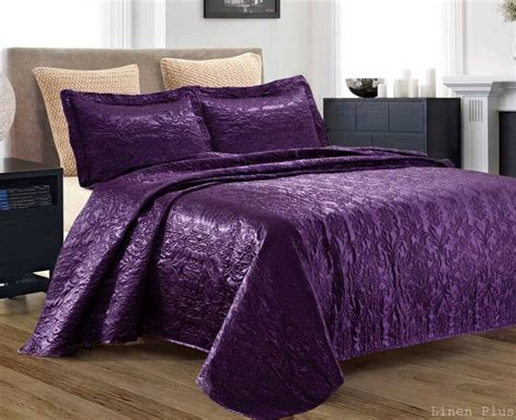 Coverlet Size by 3 Silky Satin Purple Quilted Bedspread Coverlet Set