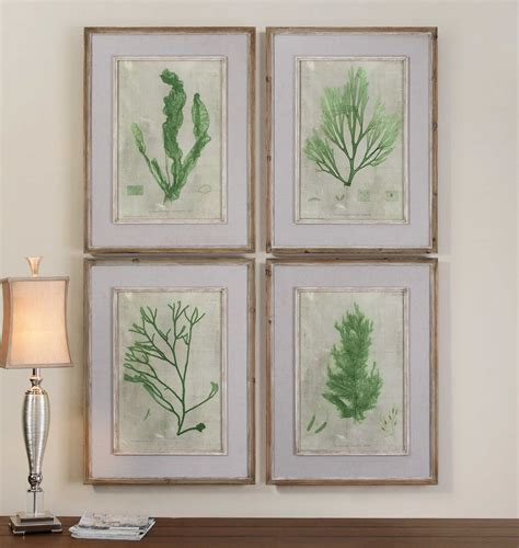 Uttermost Wall by Uttermost Emerald Seaweed Framed Wall 4 Set