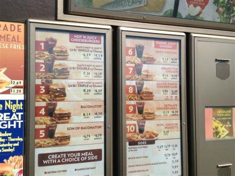 drive thru menu 1 - Picture of Wendy's, Bedford - TripAdvisor