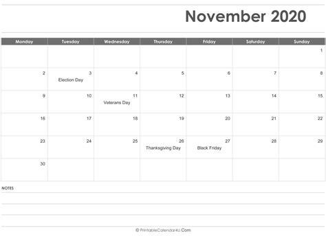 november  calendar templates