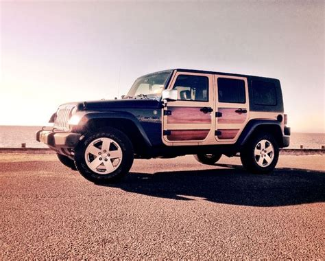 jeep wrangler beach jeep wrangler woody custom vinyl wrap wood panels