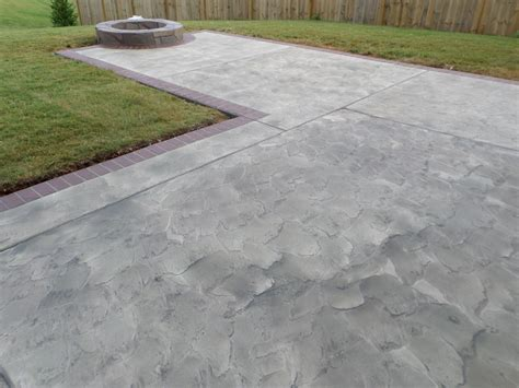 textured concrete patio decorative resurfaced concrete patio with fire pit two tone texture with brick border design