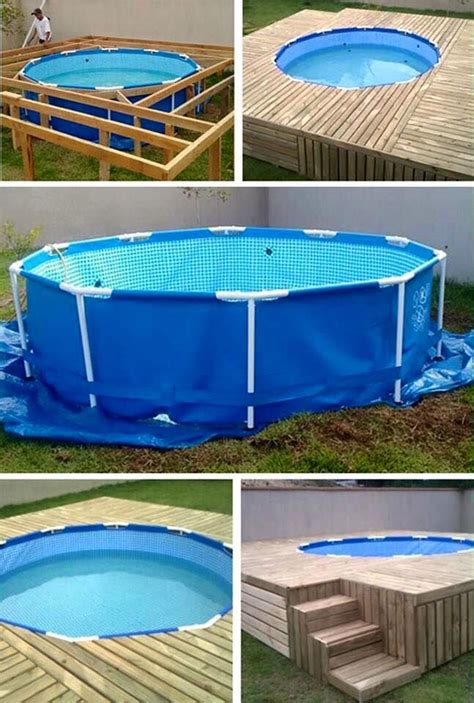 pallets    deck    ground pool