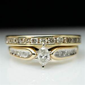sale vintage estate 80ctw marquise cut diamond engagement With vintage yellow gold wedding rings
