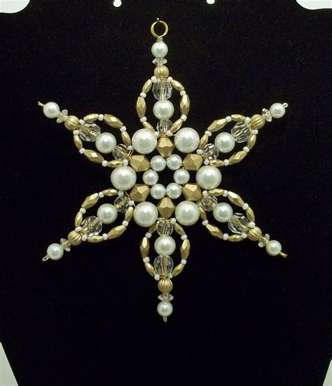 Snowflake Ornament White Pearl Antique Gold Limited