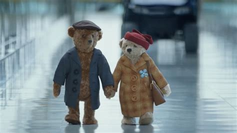 heathrow airport s christmas ad with two old teddy bears