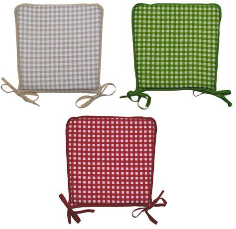 100% Cotton Gingham Check Square Seat Pad Dining Chair