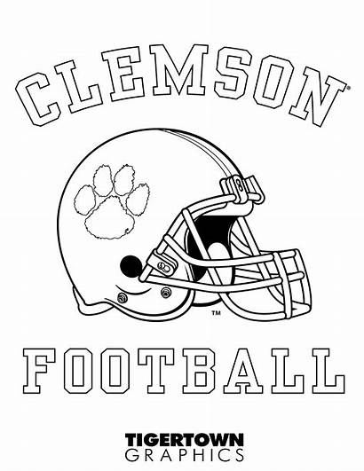 Coloring Football Sheets Graphics Tigertown Clemson Tigers