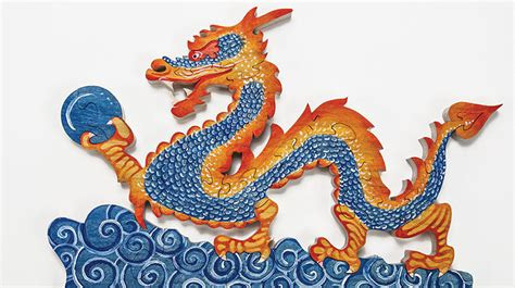 painting  chinese dragon puzzle scroll  woodworking