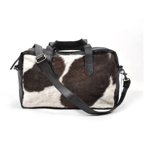Cowhide Overnight Bag - cowhide leather duffle bag leonardo found object