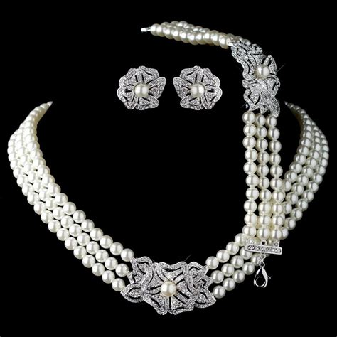 Bridal Jewelry by Rhodium Ivory Pearl Rhinestone Necklace Bracelet Vintage